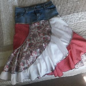 Pretty Boho skater skirt denim, peach and white wi